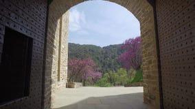 Het klooster van heilige Panteleimon, de belangrijkste kerk, zet Athos, Griekenland op stock videobeelden