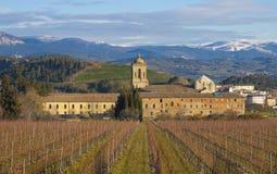 Het klooster van Iratxe en wijngaarden, Camino DE Santiago, Ayegui, Navarre royalty-vrije stock afbeelding