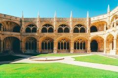Het Klooster van Jeronimoshieronymites van Heilige Jerome In Lisbon, Portugal wordt gebouwd in Portugese Recente Gotische Manueli stock afbeelding