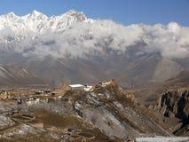 Het klooster van Jharkot, de Vallei van de Mustang, Nepal Stock Foto's
