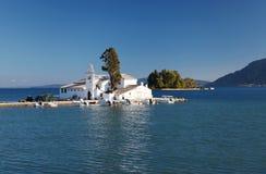 Het Klooster van Kanoni in Korfu, Griekenland stock fotografie