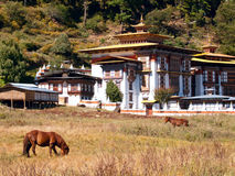 Het klooster van Konchogsum Lhakhang in Jakar Stock Foto