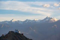 Het Klooster van Namgyaltsemo met zonsondergang, Leh Ladakh, India Royalty-vrije Stock Foto's