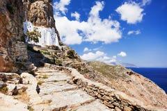 Het klooster van Panagia Hozoviotissa in Amorgos-eiland, Griekenland Royalty-vrije Stock Foto
