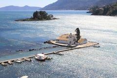 Het eiland van Pontikonisi Stock Afbeeldingen