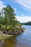 Het Kloosterbaai van de landschapskustlijn van Valaam-eiland Stock Fotografie