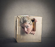 Het knallen uit van een kleine doos Stock Fotografie
