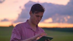Het knappe jonge mens typen op tablet en hierboven status op tarwe of roggegebied, mooie roze hemel stock video