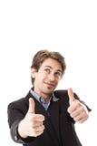 Het knappe mens geven duimen omhoog Royalty-vrije Stock Foto