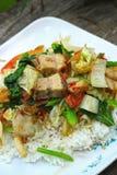 Het knapperige geroosterde varkensvlees beweegt gebraden gerecht met groenten en rijst. Stock Afbeeldingen
