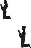 Het knielen van de man en van de Vrouw stock illustratie