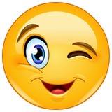 Het knipogen gezicht emoticon royalty-vrije illustratie