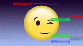 het knipogen gezichtsemoji stock illustratie