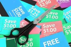 Het knippen van de coupon royalty-vrije stock afbeeldingen