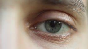 Het knipperen mannelijk oogclose-up die rond eruit zien Rode slagader op de oogappelmacro Leerlingsreactie aan te steken Mioz en  stock videobeelden