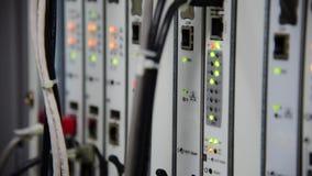 Het knipperen van LEIDENE van de voorzien van een netwerktelecommunicatie status in datacentrum