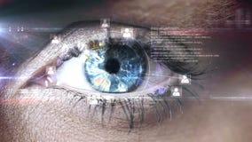 Het knipperen van oog met technologie-interface stock video