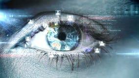 Het knipperen van oog met technologie-interface stock videobeelden