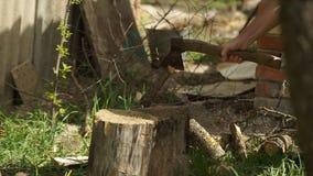 Het Knipsel van het bijlbrandhout stock footage