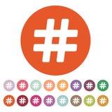 Het knoeiboelpictogram Hashtagsymbool vlak vector illustratie