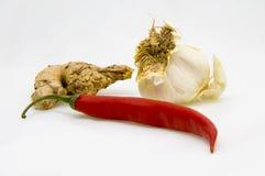 Het knoflook en de Spaanse peper van de gember Stock Foto's