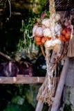 Het knoflook en de uien hingen verdraaid Royalty-vrije Stock Afbeeldingen