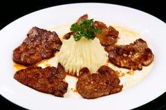 Het Knoflook van het Lapje vlees van het rundvlees en de Saus van de Peper royalty-vrije stock afbeeldingen