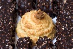 Het koekje en de chocolade van de kokosnoot royalty-vrije stock foto