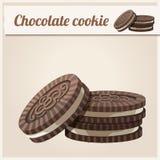 Het koekje van de chocolade Gedetailleerd Vectorpictogram Royalty-vrije Stock Afbeeldingen