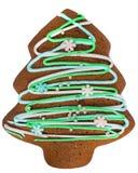 Het koekje van de Kerstmispeperkoek op wit wordt geïsoleerd dat stock foto's