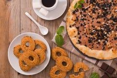 Het koekje van de pizzachocolade stock foto's