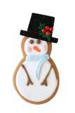 Het koekje van de sneeuwman dat op wit wordt geïsoleerd Royalty-vrije Stock Afbeelding