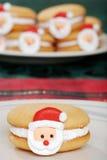 Het Koekje van het Gezicht van de Kerstman van de close-up stock foto's