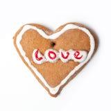 Het koekje van het Kerstmiskoekje van het hart stock afbeeldingen