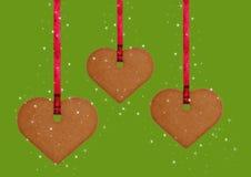 Het koekjesharten van de peperkoek Stock Foto