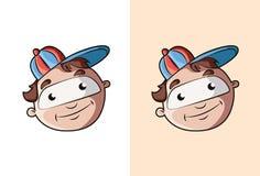 Het koele en leuke gezicht van de beeldverhaaljongen met rode blauwe hoed Stock Fotografie