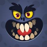 Het koele Gezicht van het Beeldverhaal Enge Zwarte Monster Vectorhalloween-illustratie van gekke monsteravatar stock afbeelding
