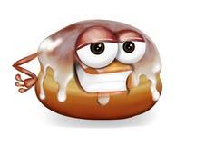 Het koele karakter lachend, leuk en grappig banketbakkerswerkkarakter van het doughnutbeeldverhaal met een grote glimlach, op een Royalty-vrije Stock Fotografie