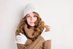 Het koele meisje van de de wintermanier. Stock Foto
