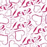 Het koele ontwerp van de liefdehand getrokken roze typografie met vector van het harten de naadloze patroon Stock Afbeeldingen