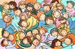 Het koesteren, knuffelende mensen, groep mensen op een knuffelpartij Stock Afbeelding
