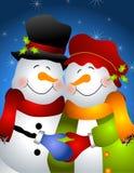 Het koesteren van Paar 2 van de Sneeuwman Royalty-vrije Stock Fotografie
