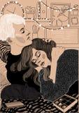 het koesterende paar viel in slaap stock illustratie