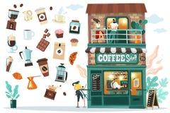 Het koffiehuis setDetailed voorgevel van het koffiehuis met bezoekers en Barista achter de bar Alle voorwerpen zijn geïsoleerd zi royalty-vrije illustratie