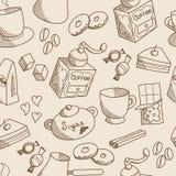 Het koffiethema schetste naadloos patroon Stock Afbeeldingen
