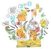 Het koken boek schetsmatige krabbel royalty-vrije illustratie