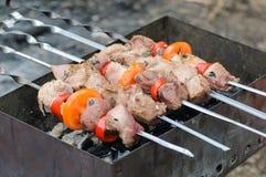 Het koken braadstukkebab op steenkolen Stock Foto