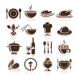 Het koken en de reeks van het keukenpictogram Royalty-vrije Stock Foto