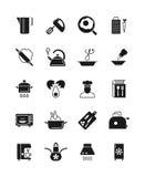 Het koken en keuken vectorpictogrammen van het materiaal de zwarte silhouet Stock Foto