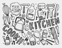 Het koken en keukenachtergrond Stock Afbeeldingen